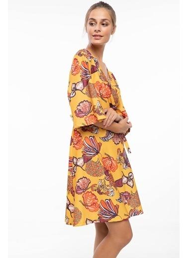 DeFacto Floral Desenli Kruvaze Yaka Elbise Sarı
